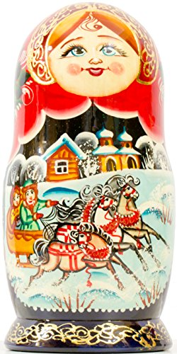 Russian Nesting Doll - Village Scenes - Hand Painted in Russia - 5 Color/Size Variations - Traditional Matryoshka Babushka (6.75``(5 Dolls in 1), Scene I) by craftsfromrussia (Image #6)