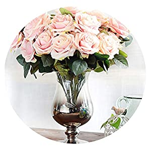 HuaHua-Store Artificial Flower Rose Bouquet Silk Flower for Wedding Home New Year Decoration Fake Flower Fall Decoration 7