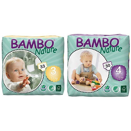 Bambo Nature Eco Friendly Baby Diapers Classic for Sensitive Skin, Size 3 (11-20 lbs), 33 Count and Bambo Nature Eco Friendly Baby Diapers Classic for Sensitive Skin, Size 4 (15-40 lbs), 30 Count