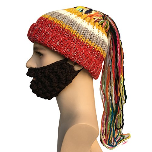Brown Fur Wig - Kafeimali Men's Knit Bearded Hats Ponytail Wig Winter Mask Beanie Christmas Caps (Brown)