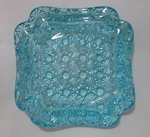 Vintage Light Blue Pressed Glass Flower/Star Pattern Ashtray (6
