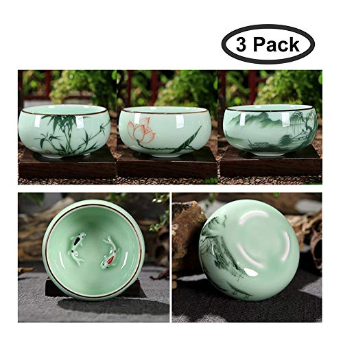 HOTUMN Celadon Teacup Porcelain Chinese kungfu Teacup Fishes and Lotus Pattern set of 3 2018 NEW (3 pack)