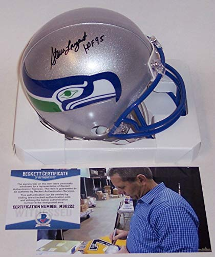 Steve Largent Autographed Hand Signed Seattle Seahawks Mini Football Helmet - with HOF 95 Inscription - BAS Beckett Authentication