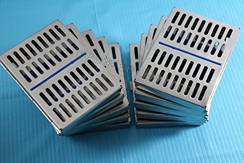 10 DENTAL AUTOCLAVE STERILIZATION CASSETTE RACK BOX TRAY FOR 10 INSTRUMENT BLUE ( CYNAMED ) by CYNAMED (Image #1)