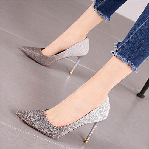 sexy per temperamento party del La paillettes Golden forte ladies YMFIE alti di party moda banchetti scarpe tacchi notte di nozze TqRg8