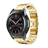 Memela(TM)For Samsung Gear S3 Frontier Watch, Elegant Mental Stainless Steel Luxury Watch Band Strap Bracelet Replacement (Gold)