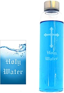 Large Glass Holy Water Bottle 21oz with Booklet