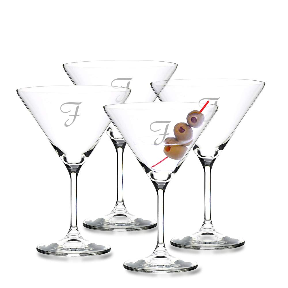 Perfect for Valentines Day Engagement or Wedding Gift Personalized Crystal Martini Cocktail Glass 4pc Set by Crystalize Engraved /& Monogrammed