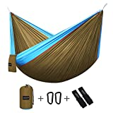 "G4Free Double Camping Hammock (2 person)- Lightweight Portable Parachute Nylon 210T Camping Hammocks for Backpacking,Hiking, Travel, Beach, Backyard , Gift (118""x 75"")-With Carabiners & Hammock Straps"