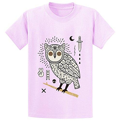 hypno-owl-kids-crew-neck-cotton-t-shirts-pink