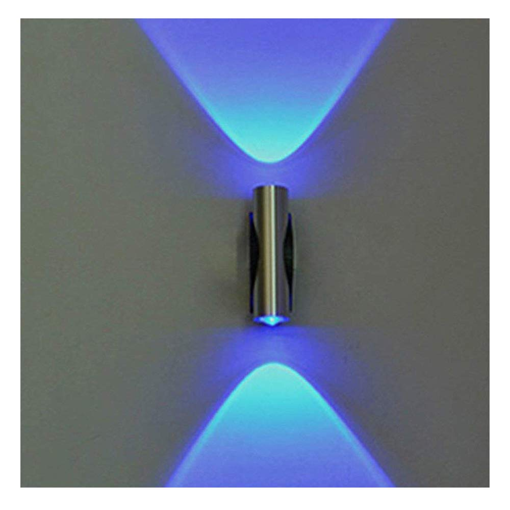Wotryit 1Pc Double-Headed LED Wall Lamp Home Sconce Bar Porch Wall Decor Ceiling Light Blue