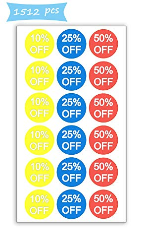 - 10% 25% 50% Off Sale Price Stickers Labels Percent Off Stickers for Retail Store Clearance Promotion Discount Deals Circle Pricemarker Half Off Labels Stickers roll 1500 (3/4 inch, Multi)