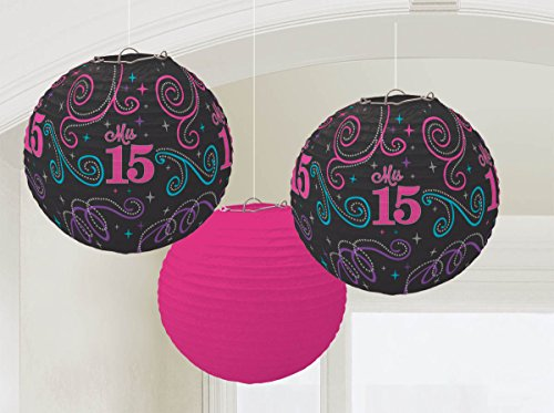"""Elegant Mis Quince Años Printed Lanterns Birthday Party Decorations (3 Pack), Multi Color, 9 12""""."""