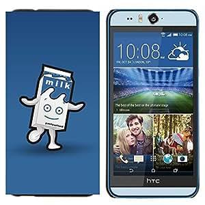- milk carton character blue happy kids/ Duro Snap en el tel??fono celular de la cubierta - Cao - For HTC Desire EYE M910x