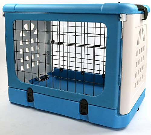 P&B Pet Carrier Dog Cage Household and Car Pet Folding Pet Cage Carrier Basic CratesPet Carrier (Blue)