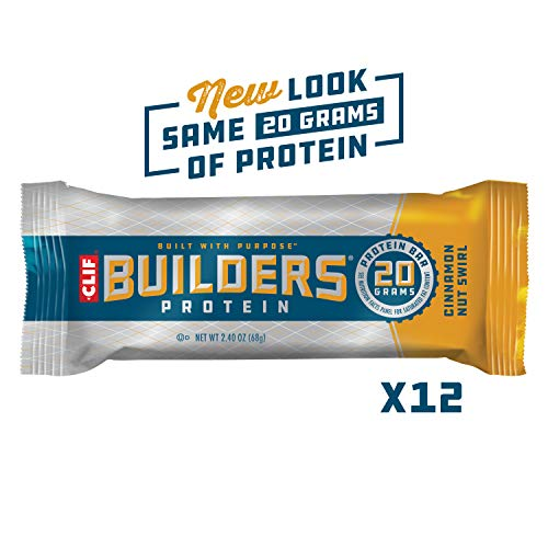 Clif Builders – Protein Bars – Cinnamon Nut Swirl – (2.4 Oz Bars, 12Count) (Packaging & Formula May Vary)