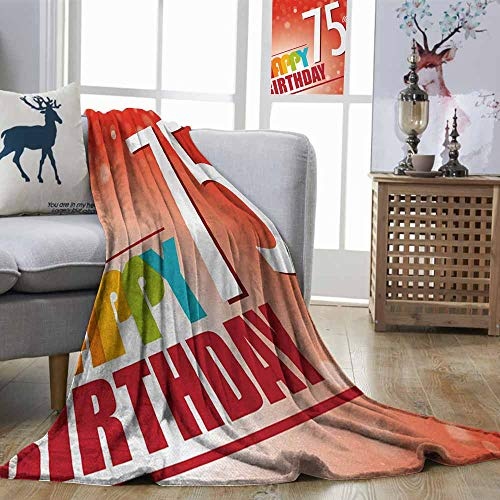 Zmstroy Microfiber All Season Blanket 75th Birthday Old Age Seventy Five Years Old Party Invite in Retro Style Greeting Theme Multicolor Home, Couch, Outdoor, Travel Use W70 xL84]()