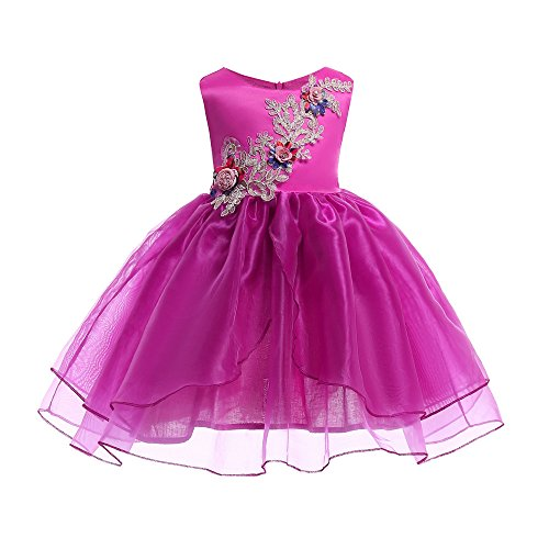 ❤️ Mealeaf ❤️ Floral Baby Girl Princess Bridesmaid Pageant Gown Birthday Party Wedding Dress(24m-7t) ()