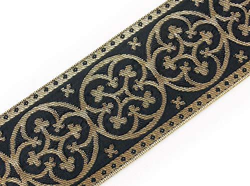 2¼ Vestment Jacquard Trim. Pugin Cross Antique Reproduction. Gold on Black from Heritage Trading