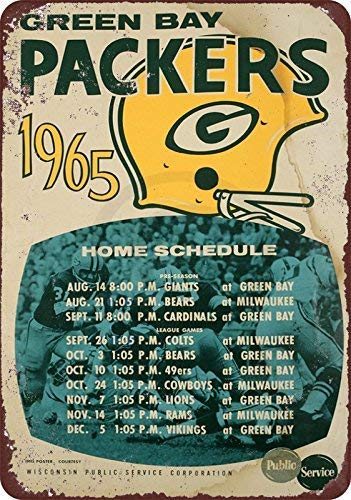 Joeaney New Tin Sign Aluminum Retro 1965 Green Bay Packers Home Schedule Vintage Metal Sign 8 X 12 Inch