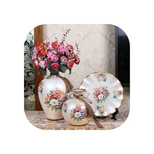 3pcs / Set New Ceramic Vase European Style Vase Creative Wedding Gifts vases Decoration Home Handicraft Furnishing Articles,A13 with Flower