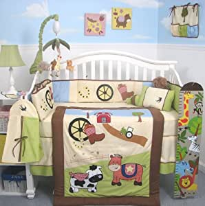 Boutique Baby Boy Farmland Ranch Baby Crib Nursery Bedding Set 13 pcs included Diaper Bag with Changing Pad & Bottle Case