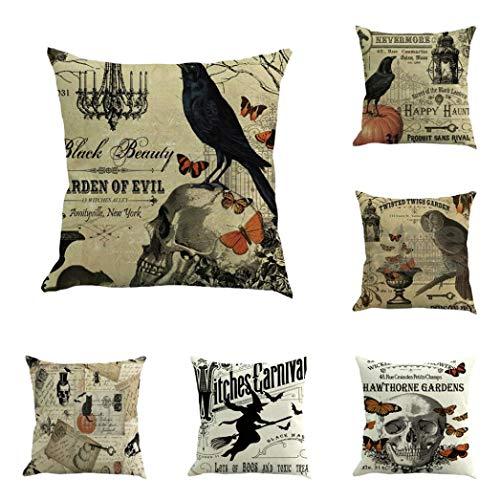 YOcheerful Halloween 11PC Home Car Bed Sofa Decorative Pillow Case Cushion Cover (E,45 45cm) -