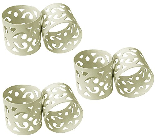 ITOS365 Handmade White Napkin Rings Holder for Dinning Table Parties Everyday – Set of 6