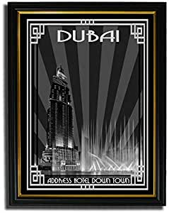 Address Hotel Down Town- Black And White With Silver Border F08-m (a5) - Framed
