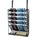 Samstar Hanging Wall File Organizer, 5-Tier Vertical Wall Mount File Holder with 1 Flat Tray for Cubicle Partition Office Home, Black