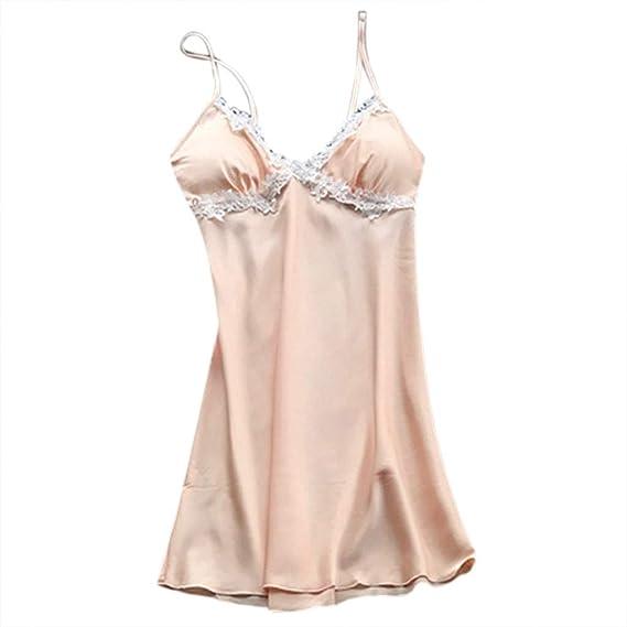 Internet_Mujer Sexy Tamaño Grande Pijamas de Cabestrillo Sexy,Pijama arnés casero,tentación Cuello en v Vestido de Encaje Ropa de Dormir,Escotado Lace ...