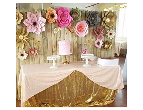 (Sequin Tablecloth Peach 120x120-Inch Square Table Cover Glitter Table Linen Table Cloths Sparkly Wedding Table Overlay (10FTx10FT) -190508S)