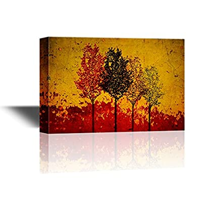 Abstract Trees on Grunge Yellow and Red Background...
