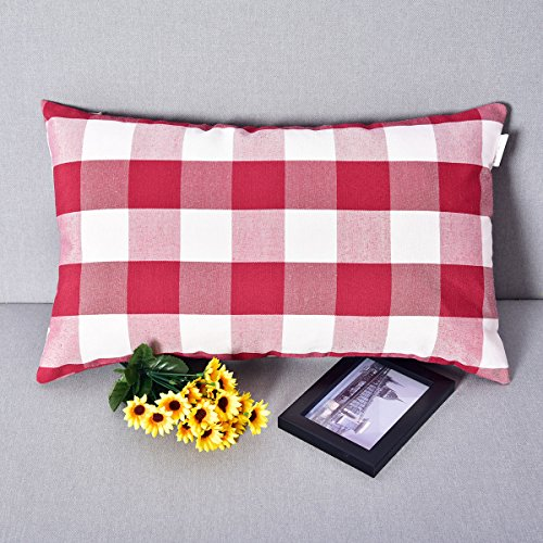Valentine's Day Natus Weaver Red White Christmas Buffalo Checkers Plaids Linen Throw Pillow Cover Decorative Cushion Shams Pillowcase Case for Sofa Relax 12 x 20