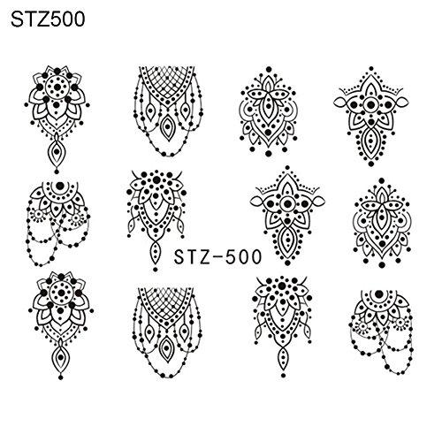 YuYe DIY Black Flower Nail Art Stickers Water Transfer Manicure Decals Decoration - STZ500 (Cc 3d Art Nail)