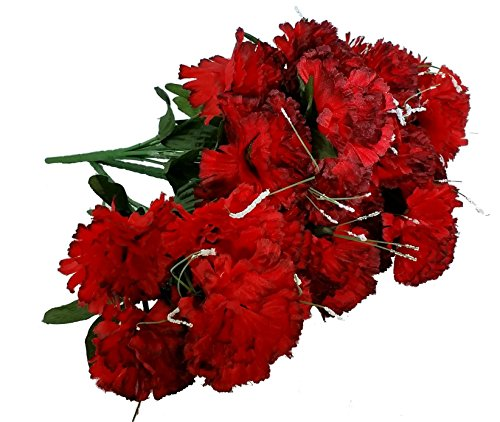 - MM TJ Products Artificial Carnations Bushes. 7 stems Pack of 4 bushes (Red/Black)
