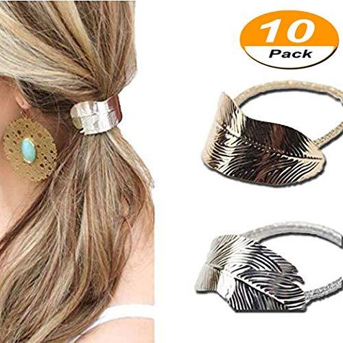 Women Girls Leaf Hair Rope Hair Band Metallic Hair Rope Elastic Ponytail Holder Hair Accessories(Gold and Silver) (Fancy Elastic)