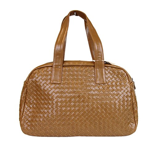 Bottega Veneta Brown Leather Woven Dome Boston Bag 132380 (Bottega Veneta Woven Handbag)