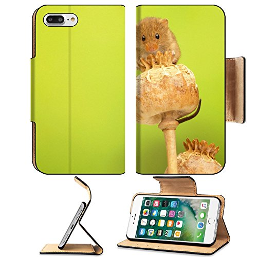 Luxlady Premium Apple iPhone 7 Plus Flip Pu Leather Wallet Case iPhone7 Plus 44006697 A cute little harvest mouse on a poppy head -