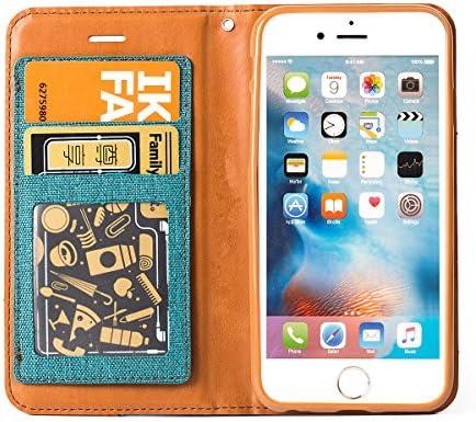 iPhone8ケース / iPhone7ケース 手帳型 デニム 薄型 財布型 マグネット スタンド機能 アイフォン 8 / 7 ケース カード収納 ストラップ付属 手帳型ケース 耐摩擦 耐汚れ 全面保護 人気 (iphone8/7, ブラック)