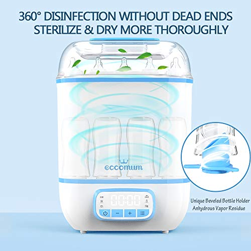 51DF898Bi0L - Eccomum Baby Bottle 𝘚𝘵𝘦𝘳𝘪𝘭𝘪𝘻𝘦𝘳 And Dryer, LED Touch Screen, 360° Steam 𝐃𝐢𝐬𝐢𝐧𝐟𝐞𝐜𝐭𝐢𝐨𝐧 & Drying, Super Large Capacity, HEPA Filter, Homemade Dried Fruit