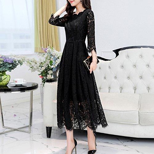 Vestidos Vestimenta De Primavera Manguito Tipo GAOLIM S Femenina La Vestidos Negro qtRgAg
