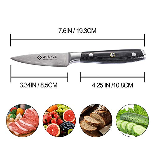 Damascus Paring Knife - 3.5 inch Utility Peeling Knife Ultra Sharp Stainless Steel Fruit Vegetable Cutting Carving Knives by Nanfang Brothers (Image #2)