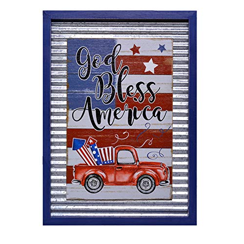 YEASL 4th July American Flag Wall Signs for Home Decor - Galvanized Corrugated Wood Truck Sign Frame Wall Plaque 15.75'' x 11.8'' x 0.75''(God Bless America)
