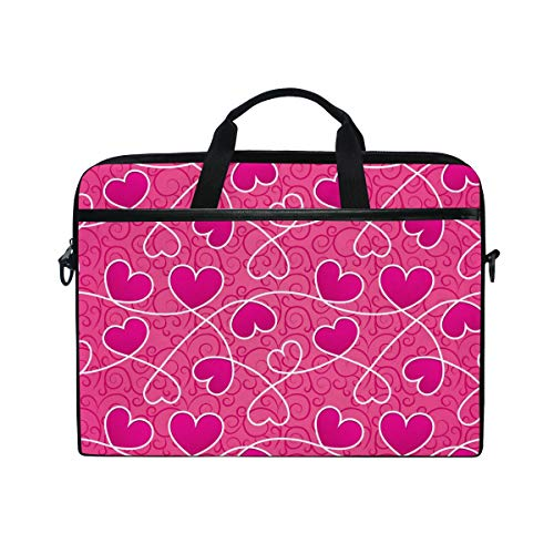 Price comparison product image MRMIAN Happy Valentine's Day Pink Hearts 15 inch Laptop Case Shoulder Bag Crossbody Briefcase for Women Men Girls Boys with Shoulder Strap Handle,  Back to School Gifts for Her Him