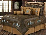 Western Turquoise Triple Star - 5 Piece Twin Size Comforter Bedding Set - (1 Comforter, 1 Pillow Sham, 1 Bedskirt, 1 Neckroll Pillow, 1 Accent Pillow) - SAVE BIG ON BUNDLING!