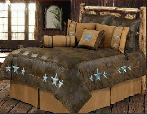 Western Turquoise Triple Star - 6 Piece Super King Comforter Bedding Set - (1 Comforter, 2 Pillow Shams, 1 Bedskirt, 1 Neckroll Pillow, 1 Accent Pillow) SAVE BIG ON BUNDLING! by H&H Designs