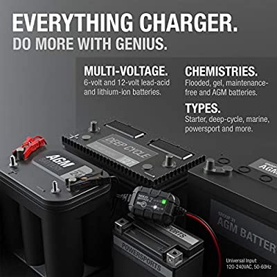 NOCO GENIUS2, 2-Amp Fully-Automatic Smart Charger, 6V And 12V Battery Charger, Battery Maintainer, And Battery Desulfator With Temperature Compensation: Automotive