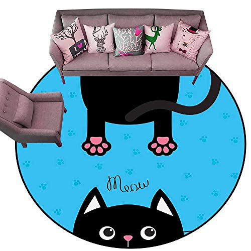 (Non Slip Door Mat for Front Door Kawaii,Kawaii Style Hanging Fat Cat Body with Paws and Round Kitten Pet Face Cartoon,Black Pink Blue Diameter 54