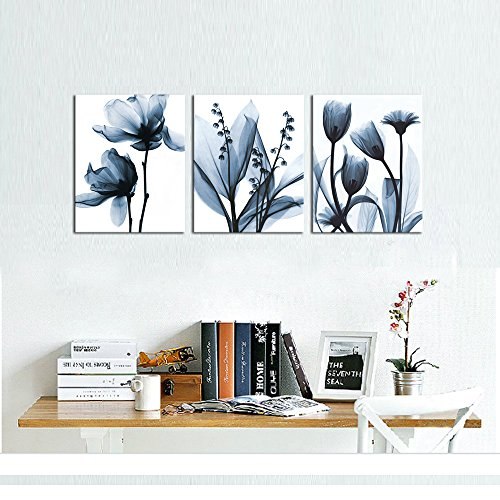 sechars – Modern Canvas Art Wall Decor,Blue Flower Picture Printed on Canvas Painting,Abstract Floral Artwork Bedroom Decoration,Stretched and Framed Ready to Hang